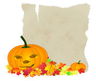 Halloween pumpkin autumn leafs Stock Photo