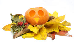 Halloween Pumpkin and autumn leaves. Royalty Free Stock Photo