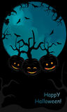 Halloween pumpkin  backgound with trees. And black text area Royalty Free Stock Photo