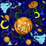 Halloween pumpkin background. The background for the celebration of Halloween. In the mess scattered pumpkins, bats and other attributes Royalty Free Stock Image