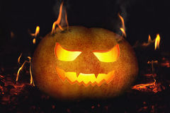 Halloween pumpkin background on fire Stock Images