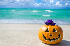 Free Halloween Pumpkin Background On The Beach Stock Image - 96946821