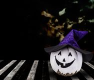Halloween. Pumpkin background, trick or treat in dark night Royalty Free Stock Images