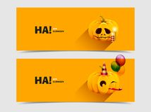 Halloween pumpkin with balloons and candles Royalty Free Stock Images