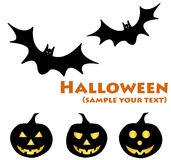Halloween pumpkin and bat Stock Image