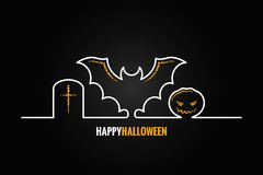 Halloween pumpkin bat design background Stock Image