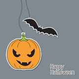 Halloween pumpkin and bat Royalty Free Stock Images