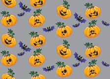 Halloween pumpkin and bat seamless pattern Stock Photos