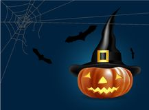 Halloween pumpkin with bat and spider web Stock Photography