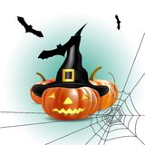 Halloween pumpkin with bat and spider web Royalty Free Stock Photos