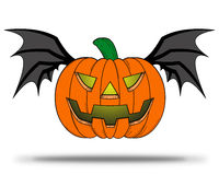 Halloween Pumpkin with bat wings. Royalty Free Stock Images