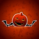 Halloween pumpkin and bats Royalty Free Stock Photo