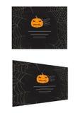 Halloween pumpkin and bats business card Stock Images