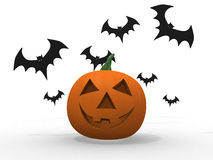 Halloween pumpkin and bats isolated on white Stock Photo