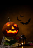Halloween -  pumpkin and bats Royalty Free Stock Photo