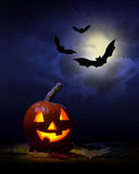Halloween -  pumpkin and bats Royalty Free Stock Photos