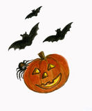 Halloween Pumpkin with Bats and Spider. Royalty Free Stock Photo