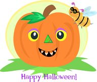 Halloween Pumpkin and Bee Stock Photo
