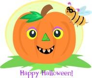 Halloween Pumpkin and Bee Stock Image