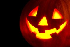 Halloween pumpkin on black Royalty Free Stock Images