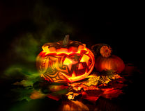 Halloween pumpkin on black background Royalty Free Stock Images