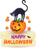Halloween pumpkin with black cat and wooden sign Stock Images