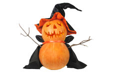 Halloween pumpkin with black hat. Funny Halloween pumpkin with black hat isolated on white Royalty Free Stock Images