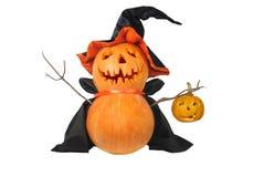 Halloween pumpkin with black hat. Funny Halloween pumpkin with black hat isolated on white Stock Image