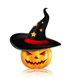 Halloween pumpkin in the black hat Royalty Free Stock Photo