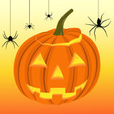 Halloween pumpkin and black spiders on the web Royalty Free Stock Photos