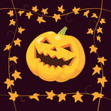 Halloween pumpkin on black. Vector illustration of laughing Halloween pumpkin on black background with frame made of yellow ivy Royalty Free Stock Images
