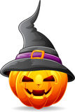 Halloween pumpkin with black witches hat Stock Photos