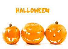 Halloween pumpkin border. Isolated on white background, traditional spooky jack-o-lantern, american autumn holiday Royalty Free Stock Photos