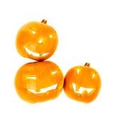 Halloween pumpkin border. Isolated on white background, traditional spooky jack-o-lantern, candles inside of gourd head, american autumn holiday Stock Photos