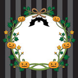 Halloween pumpkin border design on stripe background Stock Images