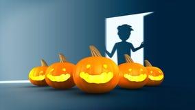 Halloween Pumpkin with boy open the door in backgr Stock Photo