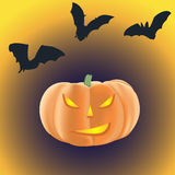 Halloween pumpkin with burning eyes on a dark background with ba royalty free illustration