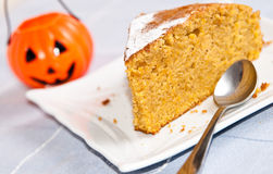 Halloween pumpkin cake Stock Images