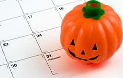 Halloween pumpkin on calendar Royalty Free Stock Image