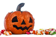 Halloween pumpkin with candies Royalty Free Stock Photos