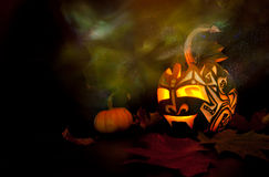 Halloween pumpkin with candle inside Royalty Free Stock Photos