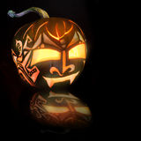Halloween pumpkin with candle inside Royalty Free Stock Images