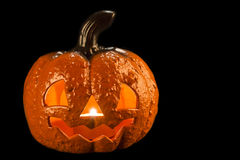 Halloween pumpkin with a candle inside Stock Photography