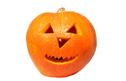 Halloween pumpkin with candle insite Royalty Free Stock Image