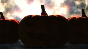 Halloween pumpkin with candle light inside before burn Royalty Free Stock Images