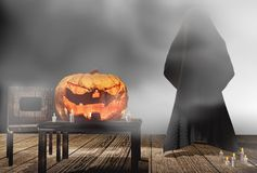 Free Halloween Pumpkin Candle Lights At Wooden Planks With Deep Fog 3 Stock Photography - 116588582