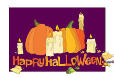 Halloween pumpkin, candles and candies Stock Photography