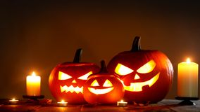 Halloween pumpkin and candles Royalty Free Stock Photography