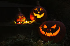Halloween pumpkin with candles in a night Stock Image