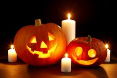 Halloween pumpkin with candles Stock Photography